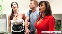Busty babes Kendra Lust and Lisa Ann fuck in threesome Bill Bailey
