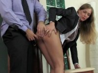 Russian beauty secretary meeting break anal