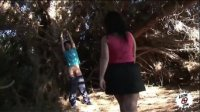 Hungry woman caught a young dick in the forest and forced herself to fuck