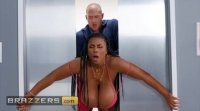 Ebony BBW Maserati gets stuck in elevator and gets her tits fucked - Brazzers