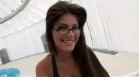 Stunning brunette with glasses Defrancesca Gallardo in double penetration