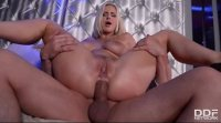 Blonde stripper Nathaly Cherie rides big cock with her tight asshole