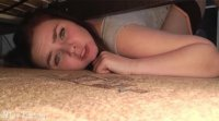 The wife got stuck under the bed, and the husband came up from behind, pulled down his panties and fucked