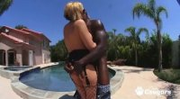 Sunny Day opens up her ass and lets a black dude slide his cock inside